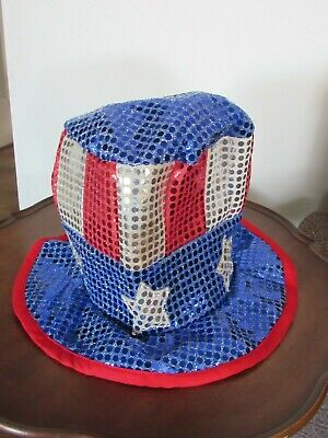 Uncle Sam Sequin Patriotic Usa 4Th Fourth Of July Red White Blue Costume Top Hat