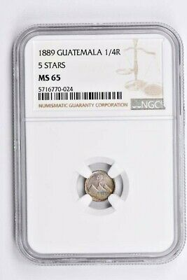 1889 Guatemala 1/4 Real NGC MS 65, 5 Stars Witter Coin