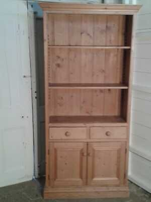 Vintage Pine Bookcase Dresser with cupboard and two drawers