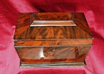 Antique Victorian Large Flame Mahogany Sarcophagus Casket Box