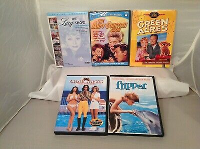 Lot 5 Vintage TV Shows DVDs- Flipper Charlie's Angels Green Acres & More