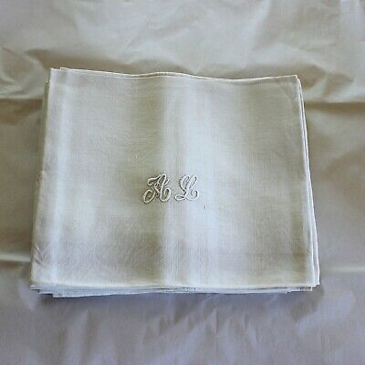 10 Antique French White Monogrammed Napkins A L plus 1