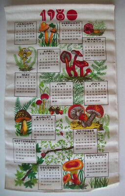 1980's 1980 Calendar kitchen towel MUSHROOMS