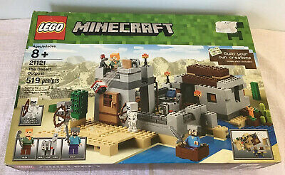 Lookout Tower 2 Skeletons Plus Alex and Steve Minifigure THE DESERT OUTPOST with Boat Pieces: 519 Lego Year 2015 Minecraft Series Set #21121 Legos Cactus Wolf