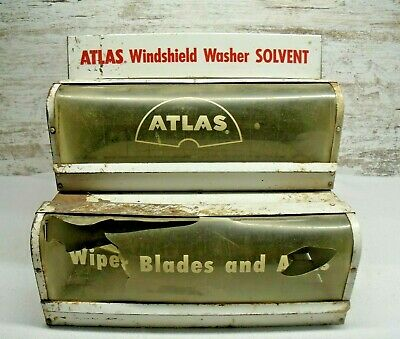 Vintage Atlas Windshield Wiper Blade Counter Display for Solvent, Blades & Arms