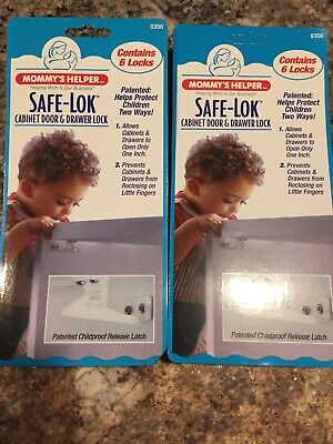 Mommy's Helper Safe-Lok Cabinet Door & Drawer Lock No. 0356 (NEW) - 2 Pkgs
