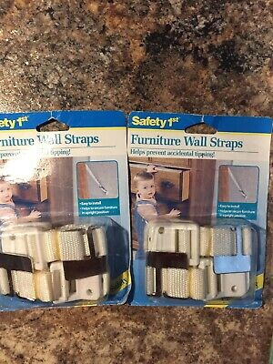 New Safety 1st 11014 White Furniture Wall Straps to prevent tipping- 2 Pkgs Of 2