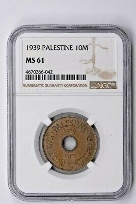 1939 Palestine 10 Mils NGC MS 61 Witter Coin