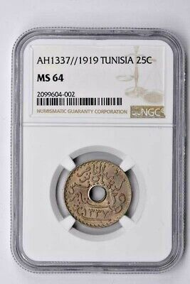 AH1337//1919 Tunisia 25 Centimes NGC MS 64 Witter Coin
