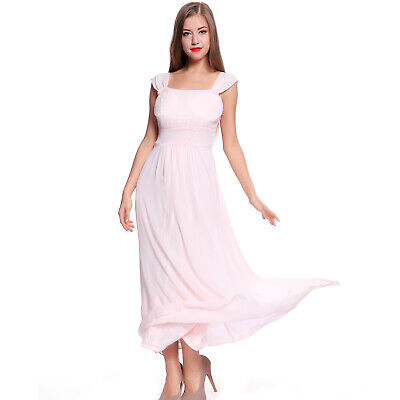 Long Chiffon Evening Formal Party Ball Gown Prom Bridesmaid Maxi Dress Size 12