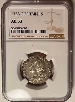 Great Britain 1758 Shilling, Ngc Au53 — 262 Year Old Silver Coin!!