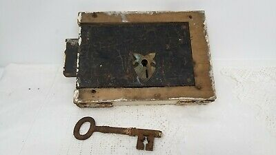 Antique Iron Large Door Lock With Key Old Reclaimed working lock WOODEN SURROUND