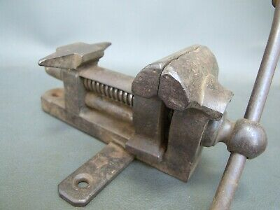 Vintage unusual small vice with anvil jewellers silversmiths bench mount