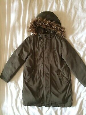 Gap girls parka in khaki with removable fur trim on hood age 12-13