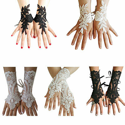 1 Pair Floral Lace Embroidered Bridal Short Gloves Fingerless Elegant W/Straps