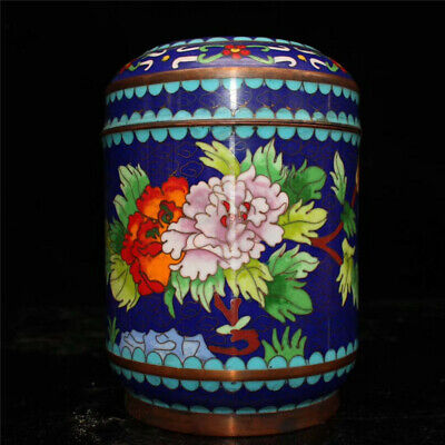 Collect Chinese copper Cloisonne painted Flower Handmade tea canister tea caddy