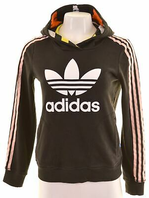 ADIDAS Womens Hoodie Jumper UK 10 Small Black Cotton  AP09