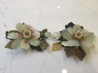 Antique Chinese Pair of Natural Jade Flower Shaped  Candlesticks