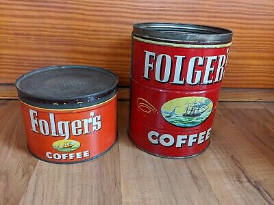 Lot Of 2 Vintage Folger's Coffee Tin Cans