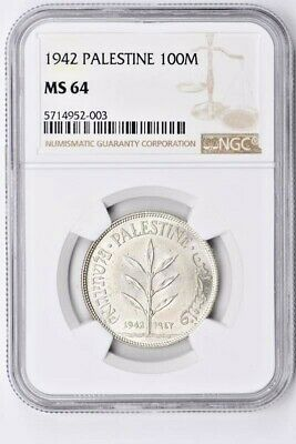 1942 Palestine 100 Mils NGC MS 64 Witter Coin