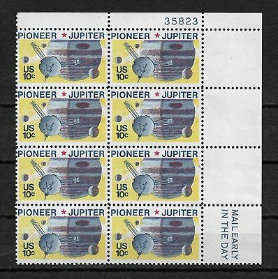 Us 1975 Space Pioneer-10 Jupiter With Plate Block Of 8 Sc # 1556,Vf-Xf Mnh**