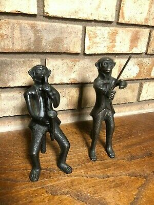 Pair Of Two Vintage Bronze Monkey Musicians Band Saxophone Composer Figures 8""