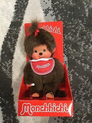 NEW Monchhichi Girl Doll With Red Bow Sekiguchi Pink Pacifier NIP