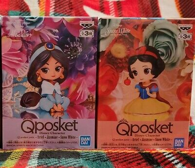 New! 2 Disney Character Q Posket Petit Jasmine and Snow White Set 4cm