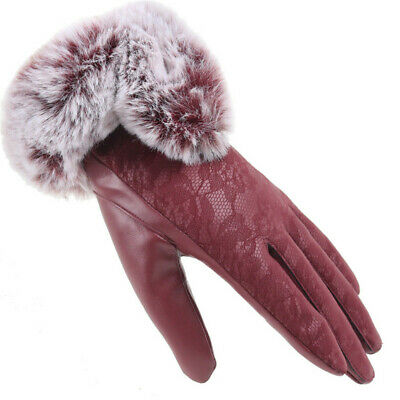 Thicken Warm Lace Touch Screen Mittens Cashmere Gloves Faux Fur Gloves