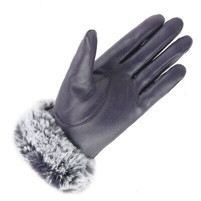 Windproof Cashmere Gloves PU Leather Touch Screen Mittens Faux Fur Gloves