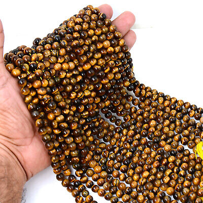 AAA+ 100% Natural Gemstone Tiger's Eye 6 mm Loose Round Beads 15 Inch 3 Strands