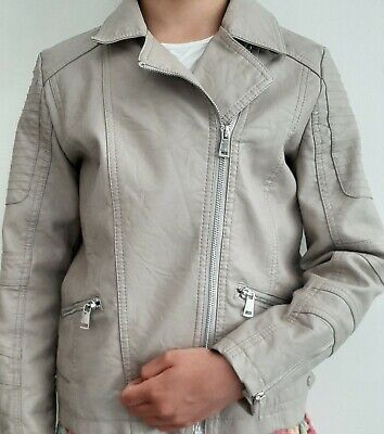 Girls RIVER ISLAND Faux Leather Beige Cream Biker Style Jacket Age 10 / 140cm