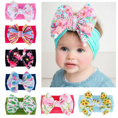 Kids Girls Baby Nylon Headband Newborn Headwraps Big Bow Knot Turban