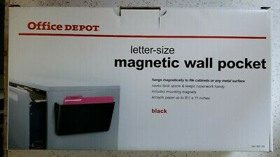 Office Depot Magnetic Wall Pocket, Letter Size, Black,  Brand New Sealed