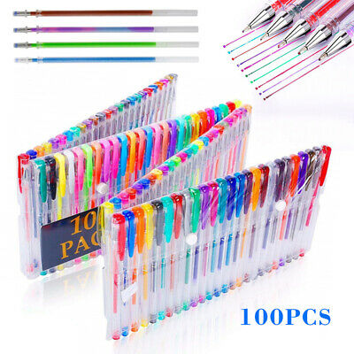 100 pcs Gel Pens Coloring Set for Adult Books Scrapbooking Drawing Writing New