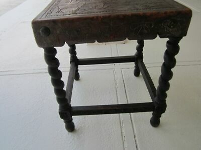 Vintage Carved Wood And Leather Footstool Bench