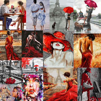 Girl DIY Paint By Number Kit Digital Oil Painting On Canvas Women Red Home Decor