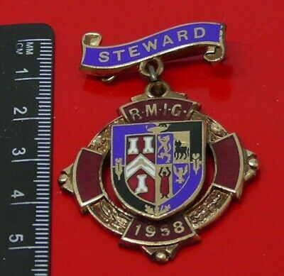 1958 RMIG Royal Masonic Institution For Girls Enamel Metal Steward Medal Badge
