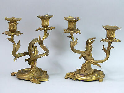 Antique Pair Of French Ornate Bronze Ormalu Twin Candelabra C.1880 - 2950 Grams