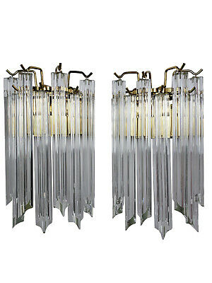 Pair of Venini Wall Sconces Large Murano Glass Prism Italian Contemporary Modern