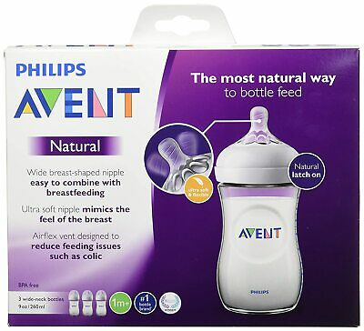 Philips AVENT Natural Baby Bottle 9 oz 3 Pack Brand New With Free Shipping