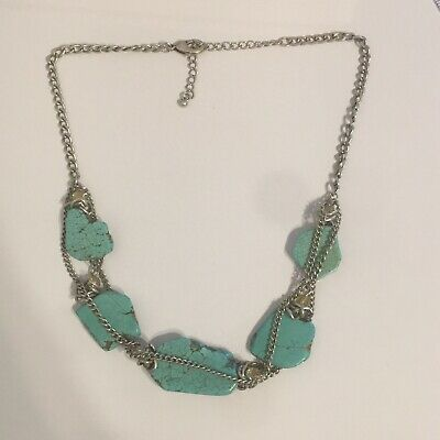 Modern Turquoise Colored Stone And Chain Necklace