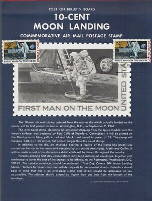 """# C-76 First Man on Moon-8-1/2"""" X 11"""" USPS Unfolded Souvenir Page FDC"""