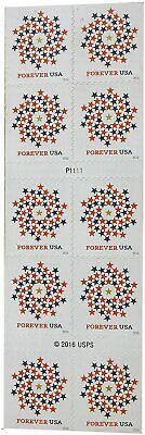 One Sheet of 10 USPS First Class Postage Forever Stamps USPS Patriotic Spiral