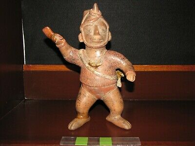 Pre Columbian, Pottery, Meso American Zone, Colima Warrior w Functioning Whistle