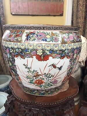 Chinese Famille Rose Medallion Porcelain Fish Bowl Planter Lg Butterflies Marked