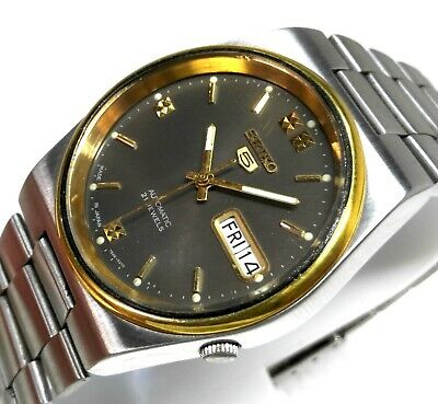 Seiko 5 Automatic Day Date Grey Dial Golden Bezel Casual Men's Watch Case 36mm
