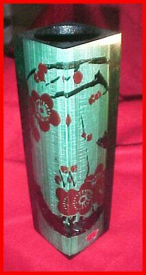 Mid-Century Signed Japanese Heavy Resin Tall Rectangle Blossom Painting Vase WOW