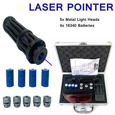 High Power Military 450nm Blue Beam Laser Pointer Pen Visible  Light Lazer +Box