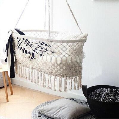 Beige Organic Hammock Portable Hanging Baby Crib Cot Cradle Bed Bassinet Gifts